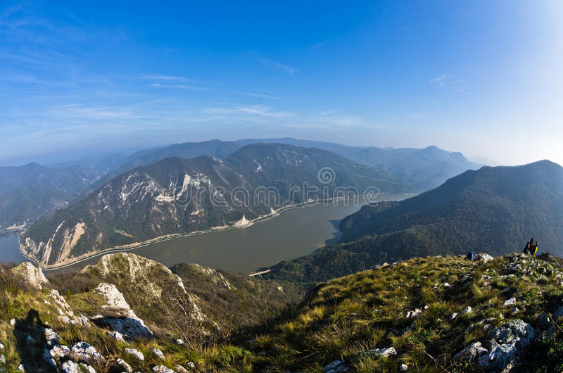 Hillsides of a Miroc mountain over Danube river and Djerdap gorge and national park. East Serbia royalty free stock images