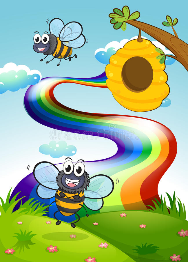 A hilltop with bees and a beehive near the rainbow vector illustration