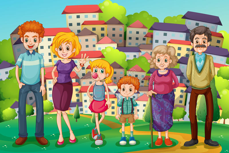A hilltop with a big family royalty free illustration