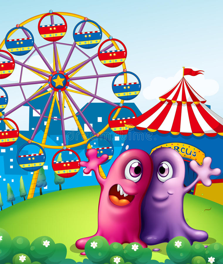 A Hilltop With A Carnival And Monsters Stock Photos