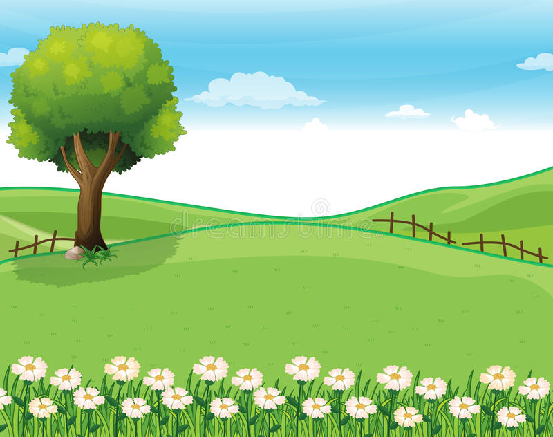 A hilltop with a garden and a giant tree royalty free illustration