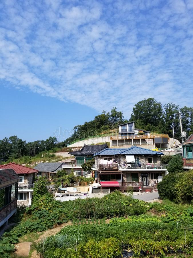 Hilltop homes and gardens South Korea royalty free stock images