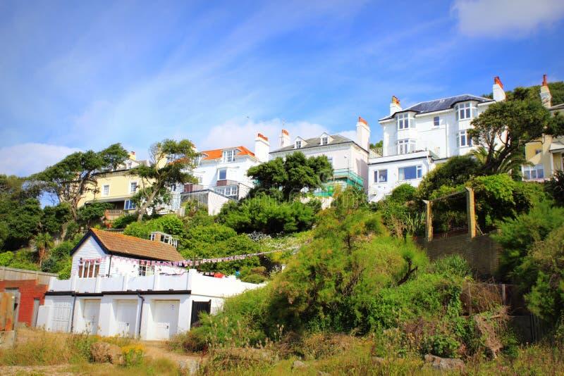 Hilltop houses Sandgate Folkestone Kent. Hilltop houses by Sandgate beach Folkestone Kent England UK royalty free stock photos
