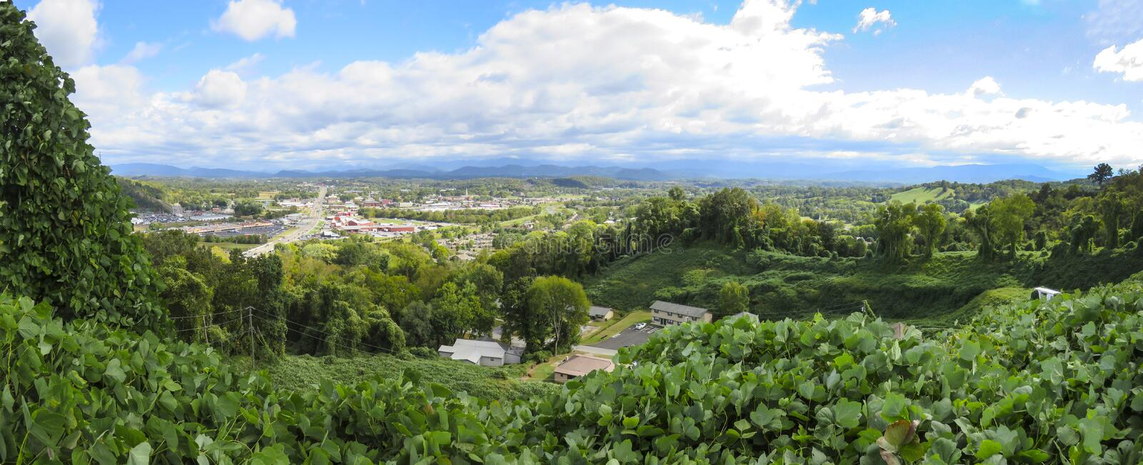Hilltop View of Sevierville Tennessee. Sevierville is a city in and the county seat of Sevier County, Tennessee,[3] located in Eastern Tennessee. The population stock image