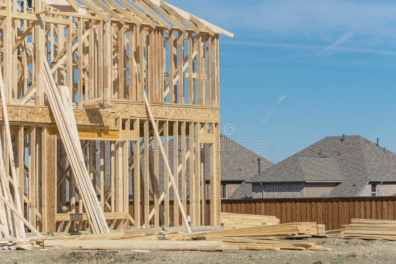 Close-up two-story stick built home under construction in Irving royalty free stock images
