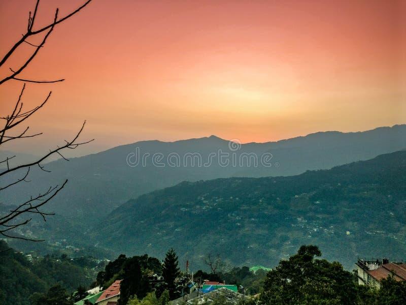 The hilltops of beautiful city of Gangtok stock photo