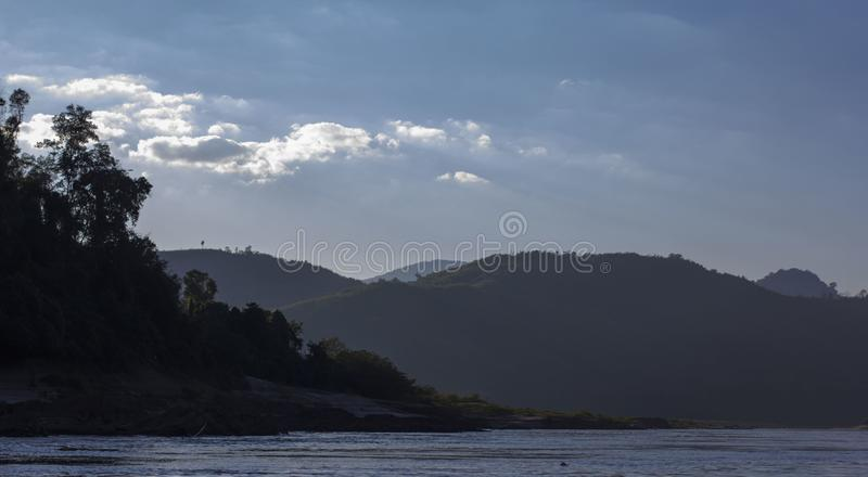 HillView on Mekong river royalty free stock image