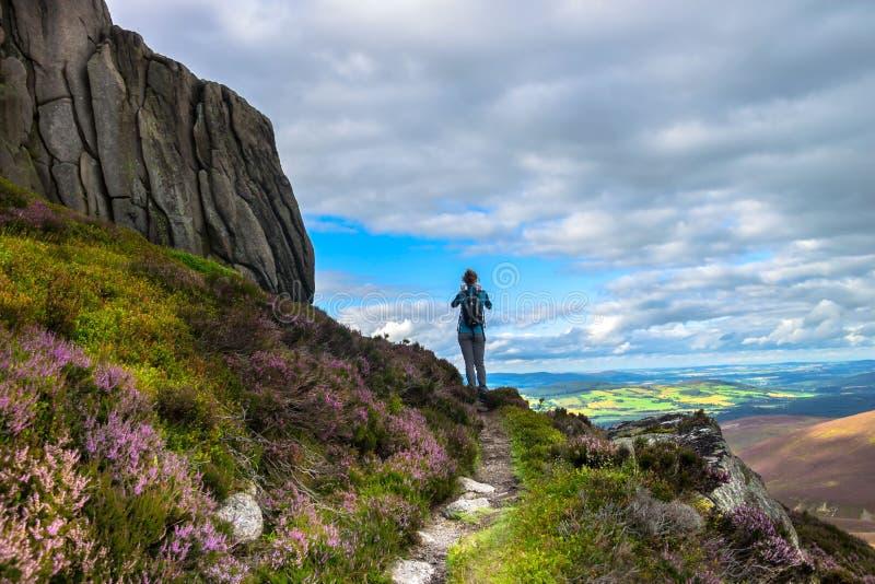 Hillwalking em montanhas de Cairngorm Aberdeenshire, Escócia, Reino Unido imagens de stock