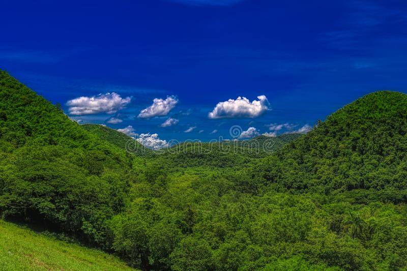 Hilly forest landscape in the Kaeng Krachan National Park royalty free stock photo