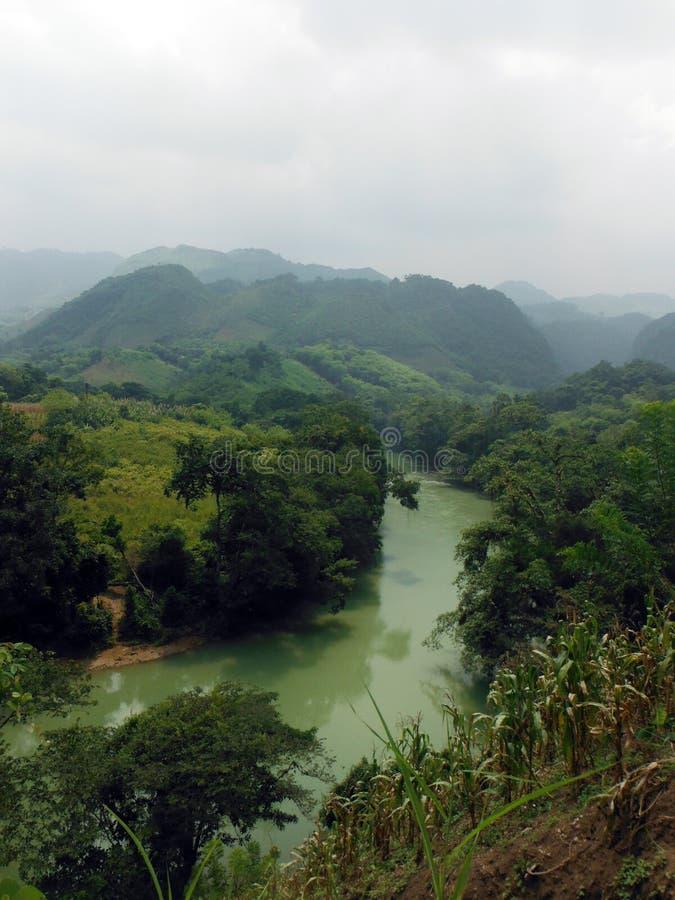 Hilly Landscape Around Semuc Champey con il fiume fotografie stock