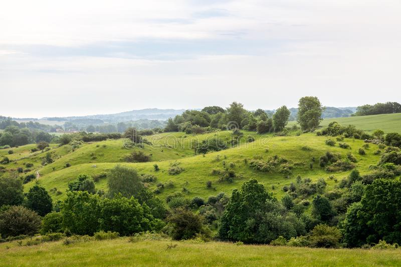 Hilly landscape of Brosarp Backar in south Sweden. stock photography