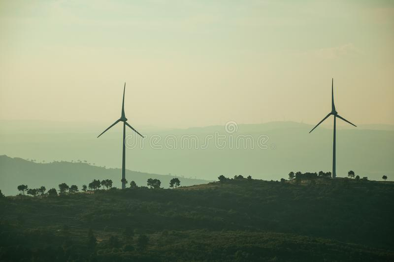 Hilly landscape with wind turbines on sunset. Hilly landscape covered by trees and several wind turbines for electric power generation, on sunset at Guarda. This stock images