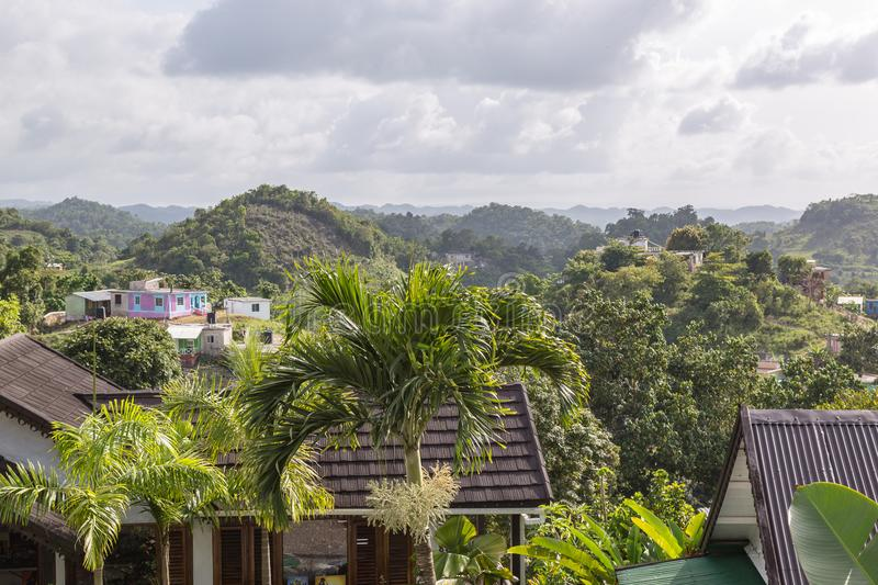 Hilly mountain side Nine Miles from Bob Marley Museum Jamaica. Hilly mountain side Nine Miles as seen in Bob Marley Museum Jamaica stock image