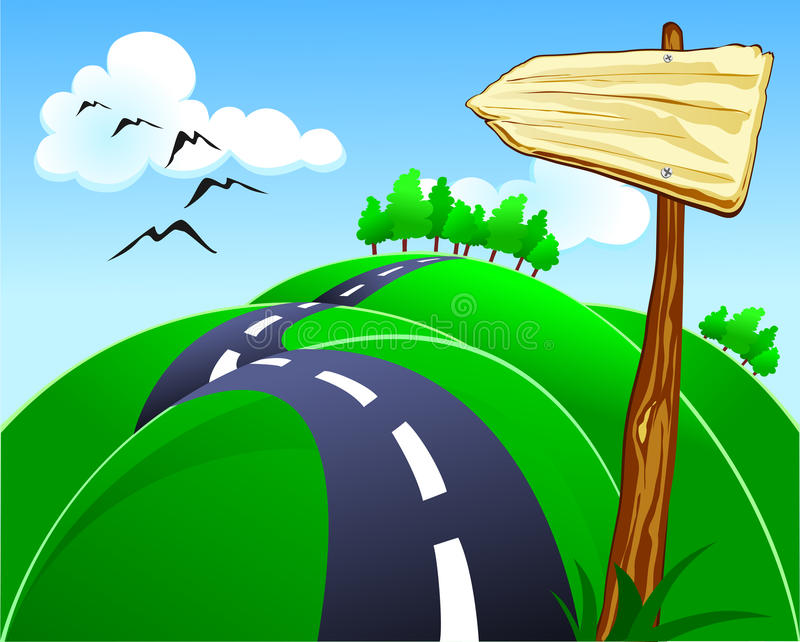 Hilly road. With wooden sign stock illustration