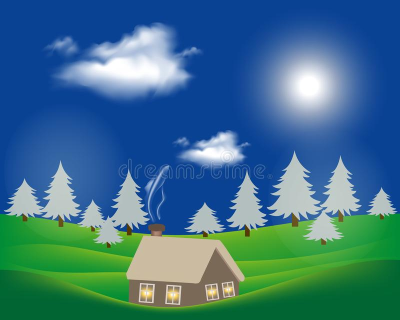 Hilly rural landscape with house and tree.  royalty free illustration