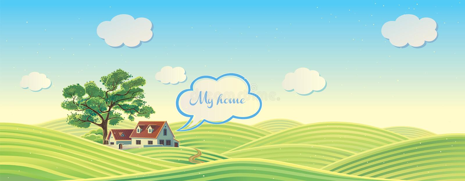 Hilly rural landscape. Hilly rural landscape with house and tree stock illustration