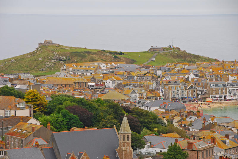 Hilly St Ives Seaside Town von Cornwall stockfoto