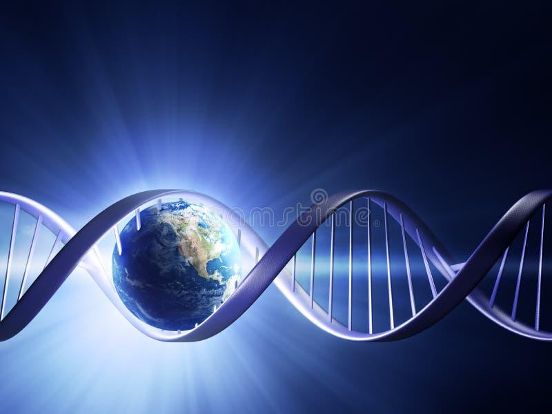 Hilo de la DNA de la tierra que brilla intensamente stock de ilustración