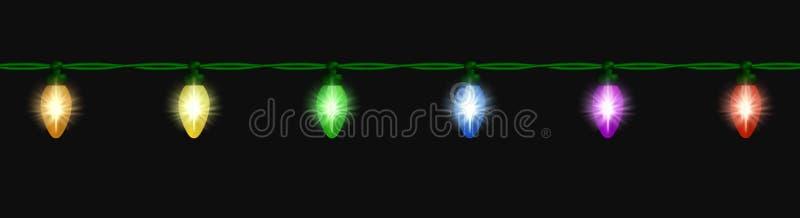 Hilo ligero que brilla intensamente sobre negro ilustración del vector