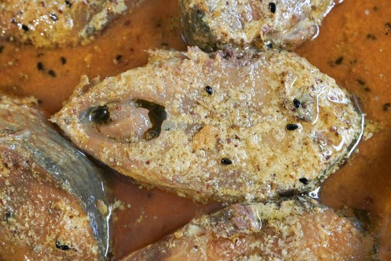 Hilsa vissenstukken op een plaat royalty-vrije stock afbeeldingen