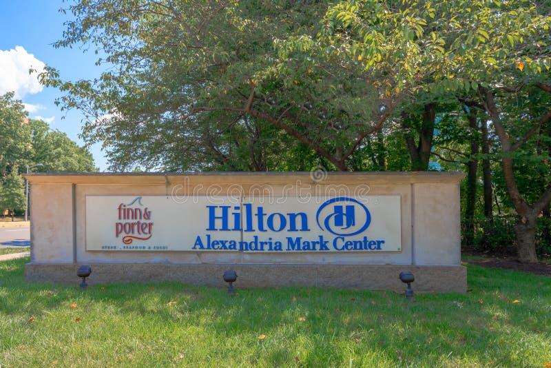 Hilton Alexandra Mark Center tecken royaltyfria foton