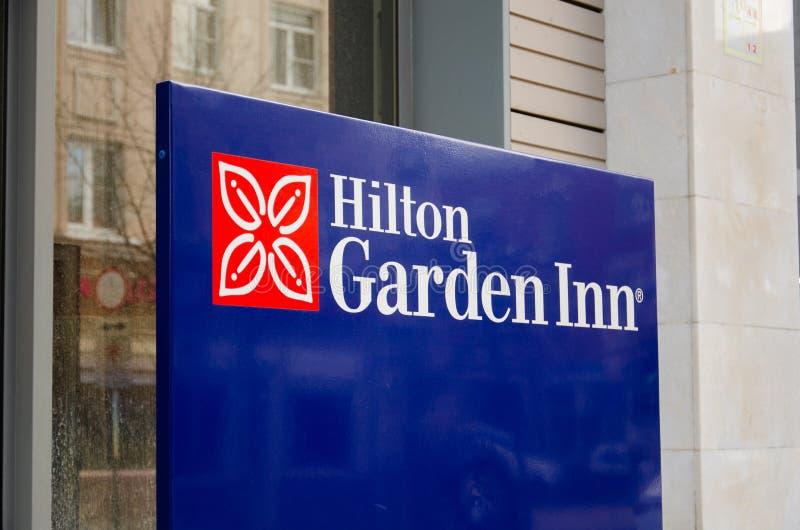 Hilton Garden Inn sign in Russia, Krasnodar royalty free stock images