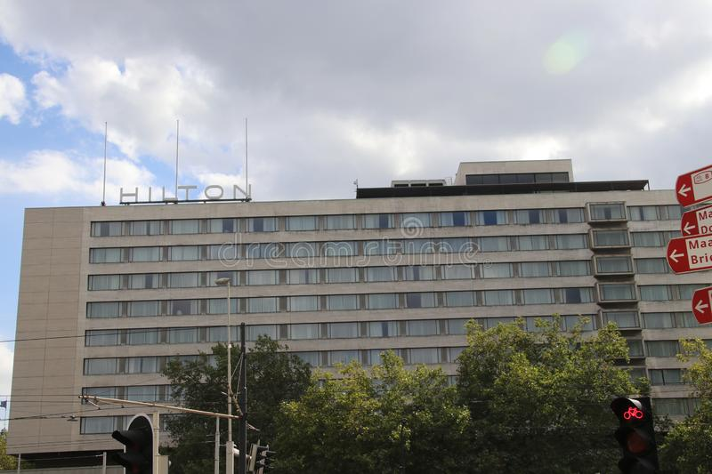 The Hilton hotel in the inner city of Rotterdam at the Hofplein in the netherlands. royalty free stock image