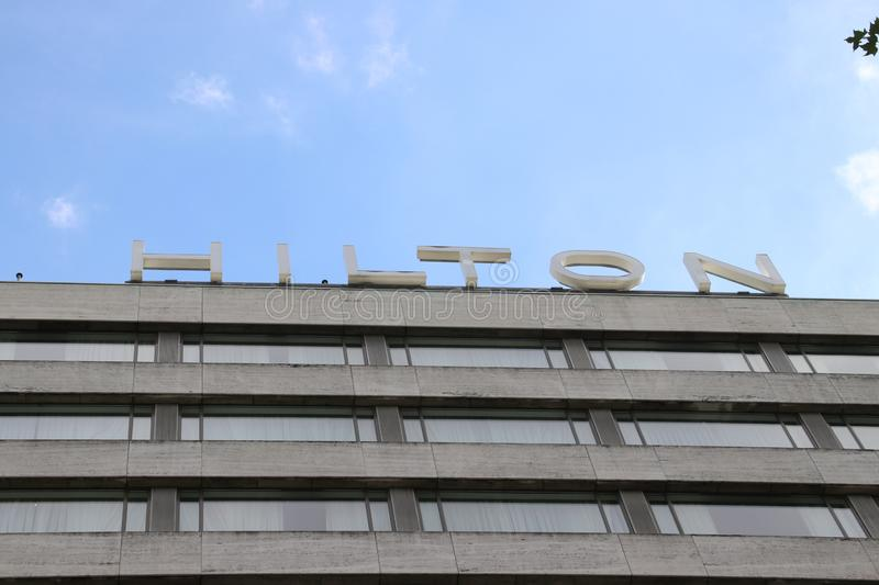 The Hilton hotel in the inner city of Rotterdam at the Hofplein in the netherlands. stock image