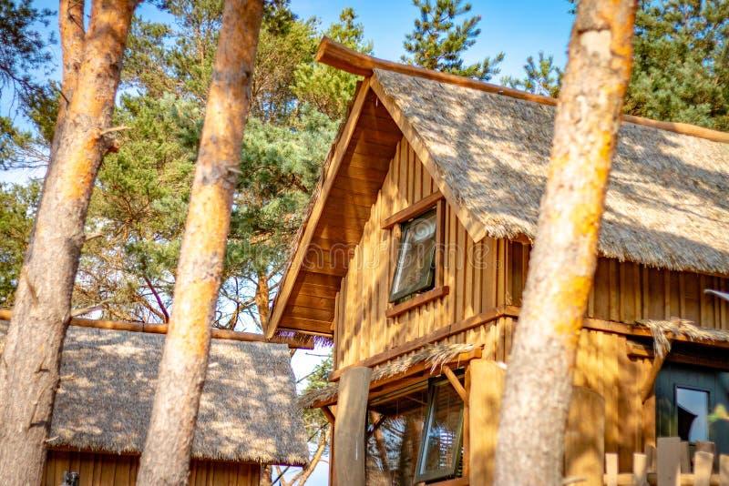 HILVARENBEEK, PAÍSES BAIXOS - 1º DE AGOSTO DE 2018: Ser de madeira das cabanas rústicas de madeira imagens de stock royalty free