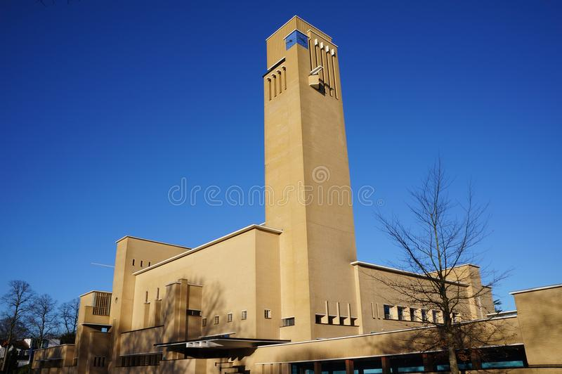 Hilversum town hall in the Netherlands. The town hall in the city of Hilversum in the Netherlands, designed by architect Willem Marinus Dudok stock image