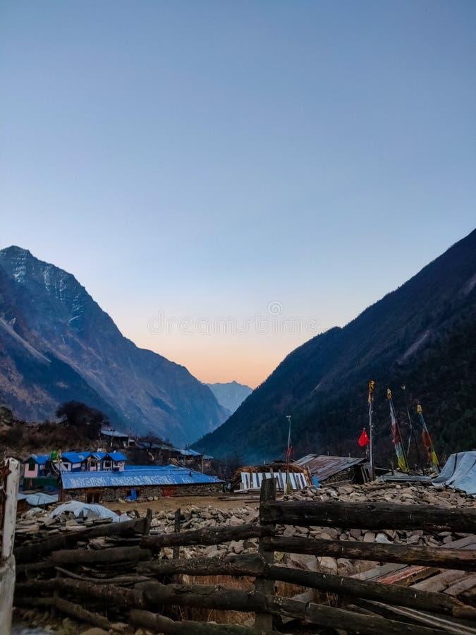 himachal喜马拉雅山印度pradesh西姆拉日落 库存照片