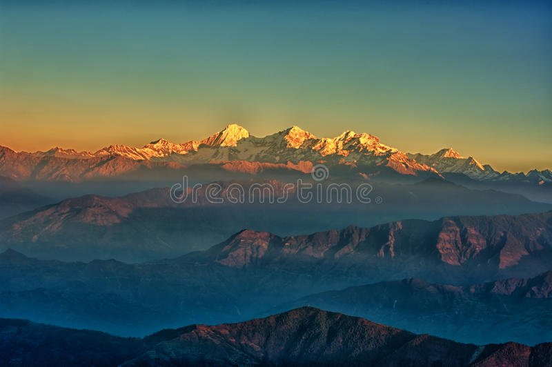 Himalajamountain View von Mt. Shivapuri lizenzfreie stockfotografie