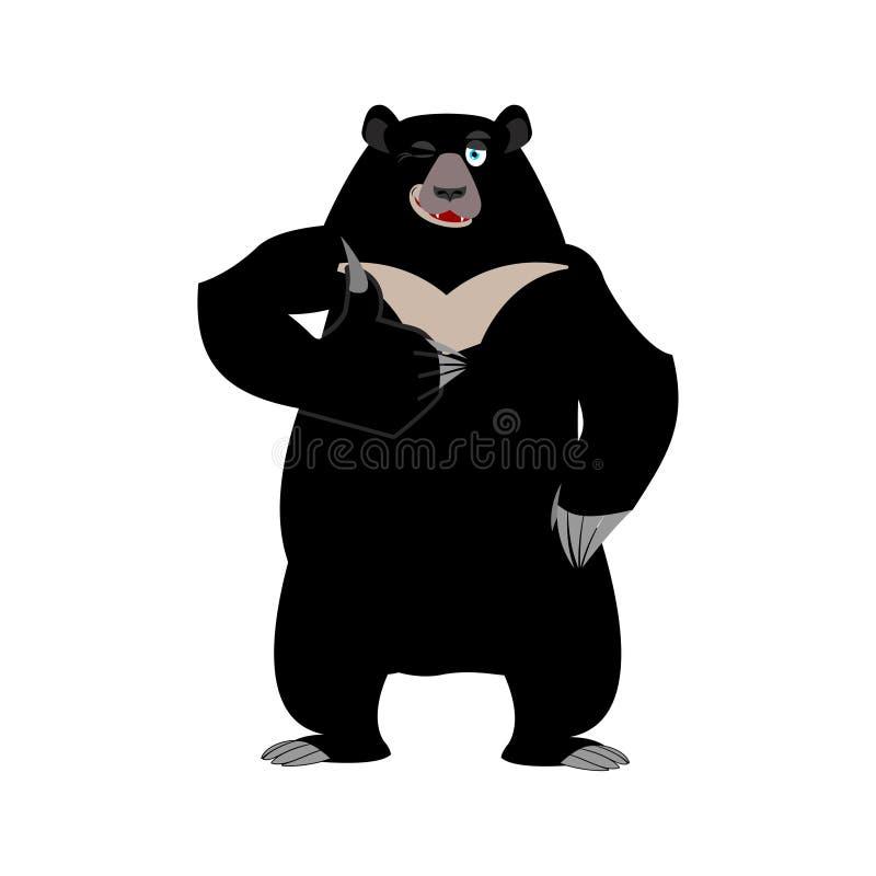 Himalajskie niedźwiadkowe aprobaty i mrugnięcia Rozochocony dzikiego zwierzęcia emoji royalty ilustracja