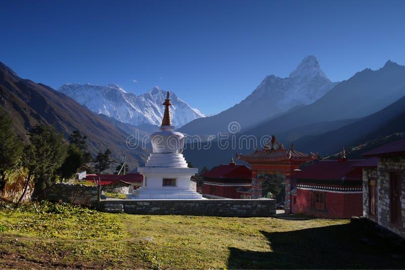 Himalaya Mountains Landscape Nepal. Buddhist monastery and chorten. Himalaya Mountains Landscape, Nepal stock images