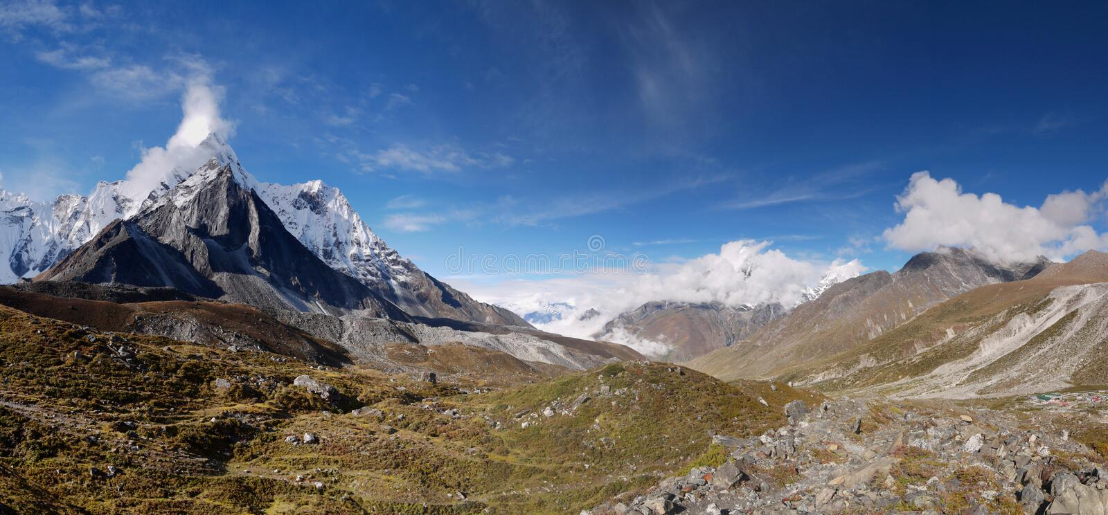 Himalayas, Nepal, Expedition, Mt Ama Dablam, Panorama royalty free stock photography