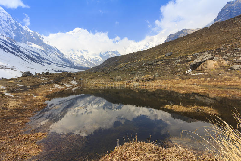 Himalaya Annapurna snow mountain range with reflection on pond, Nepal royalty free stock photo