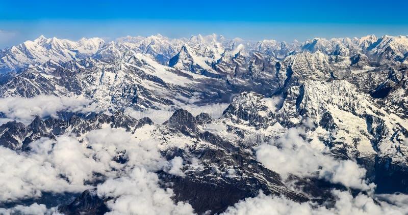 Himalaya Everest mountain range panorama. Himalayas mountains Everest range panorama aerial view, Nepal stock images