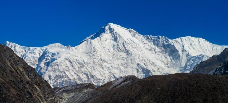 Himalaya high snow mountain panorama beautiful scenery. Picturesque snow mountain at Everest base camp trekking EBC in Nepal. Nepali trek in the high mountains royalty free stock photos