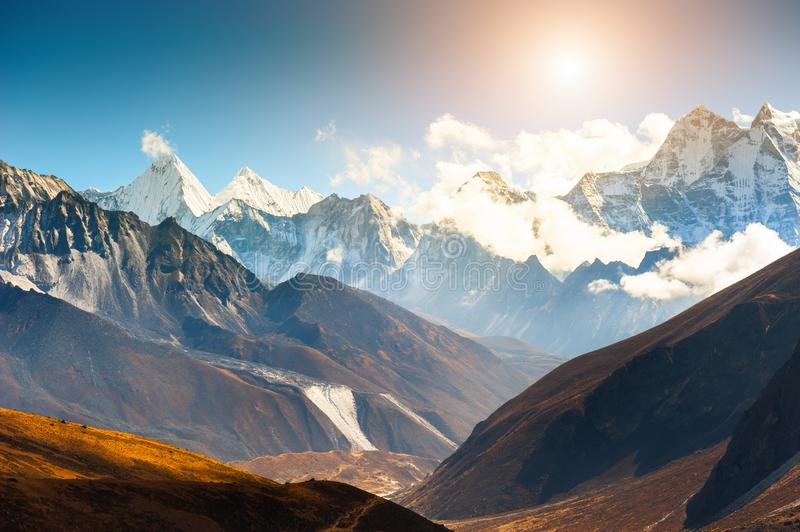 Himalaya mountain range in Everest region, Nepal royalty free stock photography