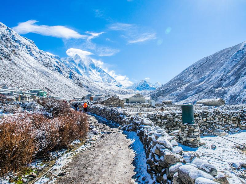 Himalaya mountain views on route to Everest Base Camp royalty free stock images