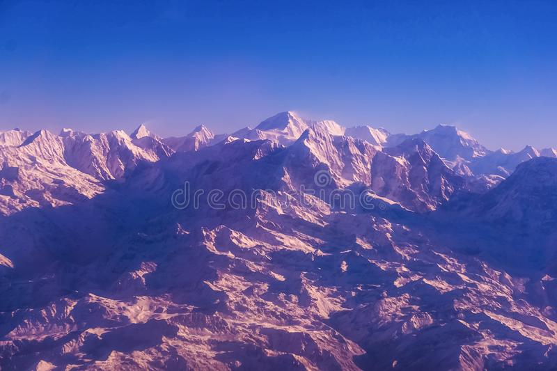 Himalaya mountains in Nepal, view of small village Braga on Annapurna circuit stock photography