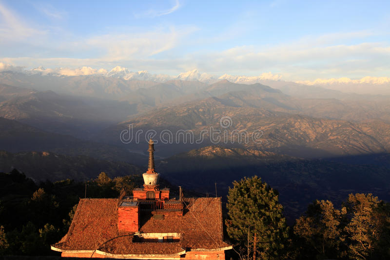 The Himalaya Mountains Range. At sunset,Nepal stock image