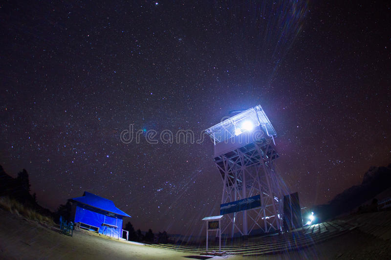 Himalaya Mountains View from Poon Hill 3210m at night with stars.  royalty free stock photo