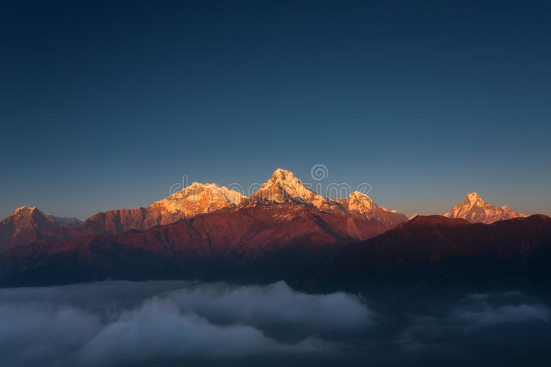 Himalaya Mountains View from Poon Hill 3210m at sunset.  royalty free stock photography