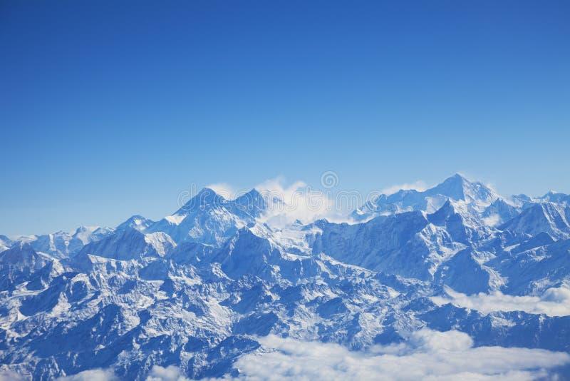 Himalayagebergte en zet Everest, Nepal op royalty-vrije stock afbeeldingen
