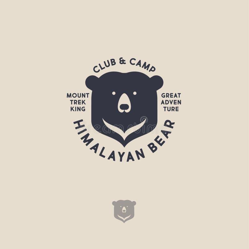 Himalayan bear logo. Mountain travel emblem. Active leisure club and camp. Flat emblem on a light background royalty free illustration