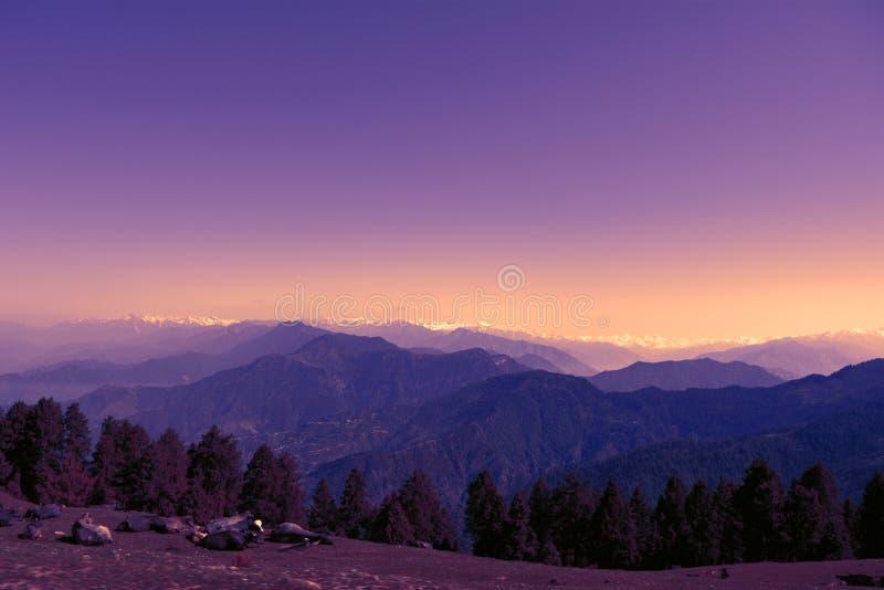 Beautiful colourful scenery of mountain range. Himalayan Mountain range from Prashar Lake top of Himachal Pradesh India royalty free stock image