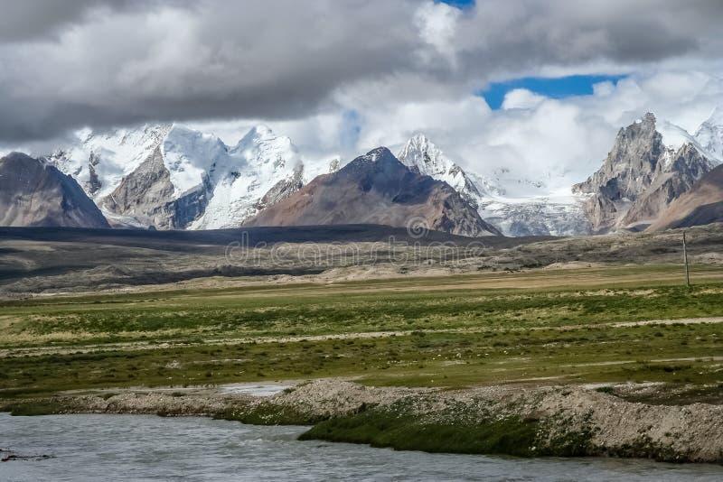 Himalayan mountain range. Stunning mountains in the Himalaya seen fron the Tibetan side, Central Tibet stock photos