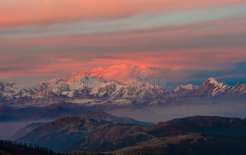 Himalayan Mountain range Sunrise time stock image