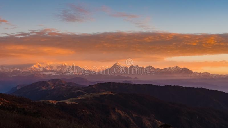 Himalayan Mountain range Sunrise time. West  bengal  sandakphu  trek ,india royalty free stock images